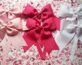 Large Bow Curtain Tiebacks - Girls Room Decor - Curtain Ties - You Choose Color, White, Ivory, Lt Pink, Hot Pink - Baby Nursery Decoration