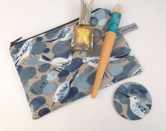Sandpipers Small make up birds, zippered pouch, cosmetics  purse, beach, sea birds, shore.