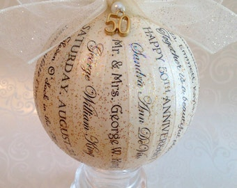 50th Anniversary Gift For Parents/Friends/ Personalized Ornament/Golden Anniversary/Gift Idea for 25th 30th 40th 50th 60th Anniversary