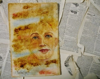 """Hand Painted Original Watercolor Woman Portrait """"Free Your Mind"""" 7x11 Unframed Wall Art"""