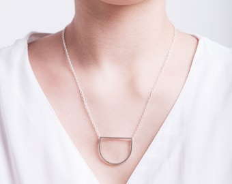 Sterling silver geo pendant | Handmade contemporary semicircle necklace