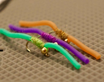 Six (6) Bead Head Squirmy Worm Flies - Fly Fishing Flies - Worm Fly - Bead Head Fly - San Juan Worm - Hand Tied Flies - Trout Flies
