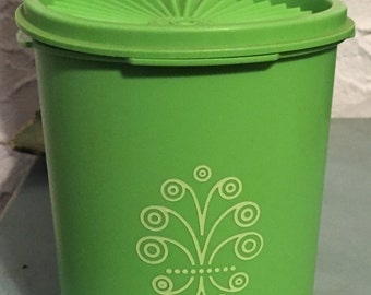 Vintage Bright Lime Green Tupperware Canister Food Container