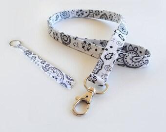 Bandanna Lanyard Set / White Bandana / White Keychain / Cute Lanyards / Bandanna / Teacher Lanyard / Fabric Lanyards / Badge Holder