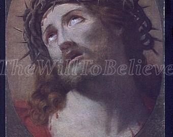 Vintage postcard, Ecce homo by Guide Reni, Vintage Religious Postcard, Crucifixion, Greeting Card, Jesus Christ Antique Postcard Sacred /nz