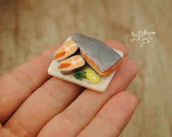 Board with fresh fish, salmon, salmon, dollhouse miniature food, dollhouse kitchen, culinary, realistic