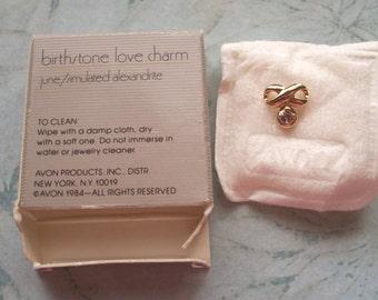 Vintage Avon Birthstone Love Charm June,Gold tone,Simulated Alexandrite,Purple charms,Lavender Rhinestone,1984