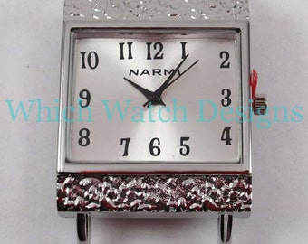 CLEARANCE Hammered Rectangle.. Large Silver Plated Interchangeable Watch Face, Black, White, Pearl, Brown