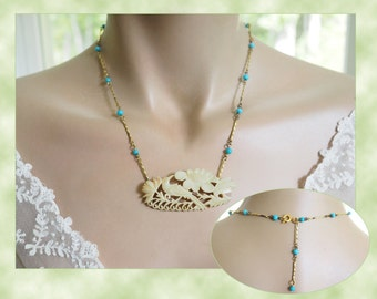 Vintage Hand Carved Bone Bird Necklace - Turquoise Glass Beaded Bar Chain -  Flower Pendant Carving