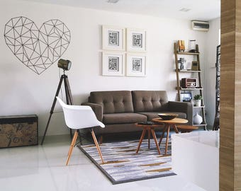 Minimalist Heart in Sacred Geometry Modern Style Decor - Wall decals for magical minds, Many colors and Sizes available, Mystic collection