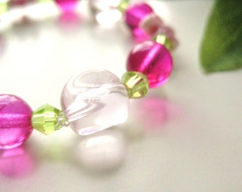 Girls Bracelet, Fuchsia, Pink and Green with Pink Flowers, Medium, GBM 173