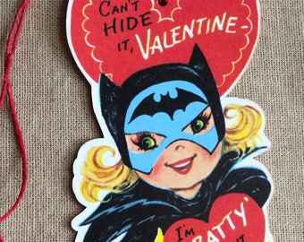 Retro I'm Batty About You Bat Girl Valentine Gift or Scrapbook Tags #423
