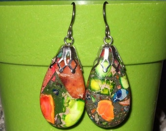 Rainbow Variscite (D) Teardrop Dangle Earrings Earings with Sterling Silver Titanium Ear Wires Made in Newfoundland