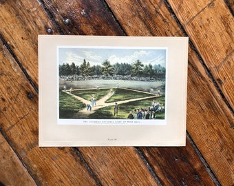c. 1952 - BASEBALL PRINT - original vintage lithograph - Currier & Ives print - sports print- America's Pastime print