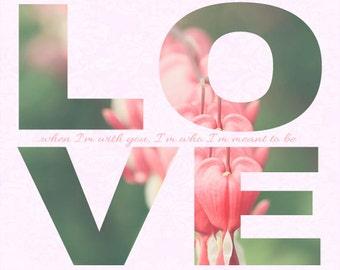 Valentine's Day Gift - Typography- LOVE - Wedding Gift - Flower Photo - Hearts - Romantic - Fine Art Photography Print - Pastel Home Decor