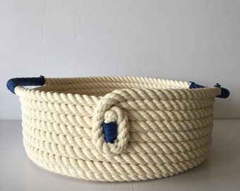 White and Blue Cotton Basket