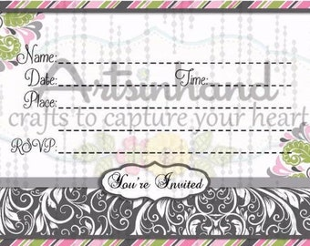 Grey & Pink Invitation