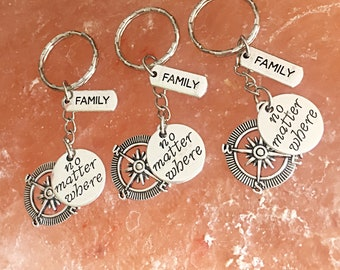 Set of 3, Custom Family keychains - no matter where keychain, friendship keychain, gift for friend, Long Distance, Going Away Gift Family