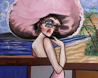 Pink Original Painting Woman Hat Ocean Palm Trees Cubism Cubestraction Anthony Falbo
