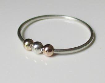Lilias Fidget Ring, Worry Bead Ring, Spinner Ring, Anxiety Jewelry, Gift for Her