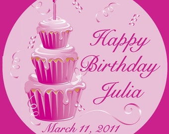 Personalized Pink Birthday Cupcakes 100 Round Glossy Labels