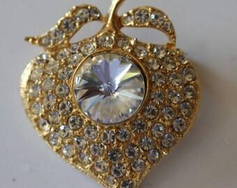 Gold tone clear rhinestone fruit flower leaf pin brooch