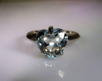 14K White Gold Ring, Aquamarine Heart Ring, Aquamarine White Gold Ring, 9mm Heart Ring, Light Blue Heart Ring, Vintage Ring – Size 5.75