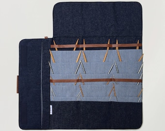 Circular Knitting needle Case, Fixed circular needle organizer, Denim case