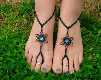 Black with Teal Flower Barefoot Sandals, Slave Anklet, foot thong, ankle bracelet with toe ring