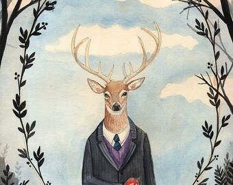 5x7 PRINT - Deer Man, Dark trees, Leaf Framing, Art Illustration, Watercolor Painting, Victorian Gentleman