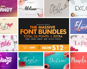 The Massive Font Bundle 94% Off - Discount, Deal, Script, Bestsellers, Lettering, Brush Typeface, Wedding, Logo, New Year, Hand Made