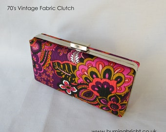 70s Retro Fabric Clutch Bag / Purse Made in Scotland and Perfect for a Night Out / LBD