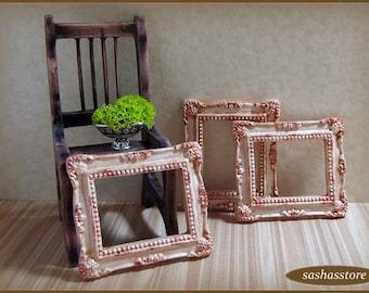 Casa de muñecas miniatura, miniatura de casa de muñecas, decoración shabby chic muñecas, miniatura marco