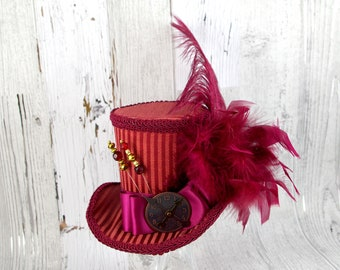 Burgundy Red Steampunk Empress Collection Large Mini Top Hat Fascinator, Alice in Wonderland, Mad Hatter Tea Party, Derby Hat