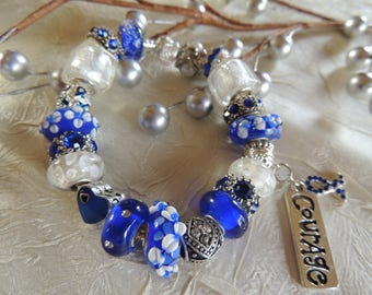 COLON CANCER AWARENESS 2 ...Silver Charm Bracelet...by TLCcharms