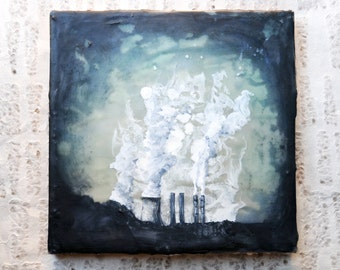 Eclectic, Industrial Chic, Alabama Stacks Painting: Encaustic Mixed Media