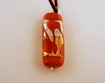 Lampwork  Pendant silver foil pendant red gold foil