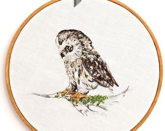 Owl Thread Painting