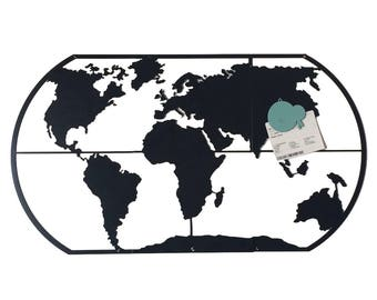 World map poster etsy world black board black memo board magnetic magnetic puzzle drawings for kids gumiabroncs Choice Image