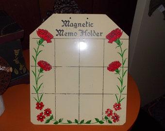 vintage magnetic metal memo holder