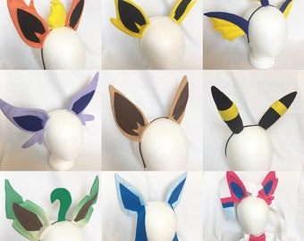 ALL 9 Eeveelution ears full set ears cosplay set eeveelution ears eevee flareon vaporeon jolteon umbreon espeon leafeon glaceon sylveon