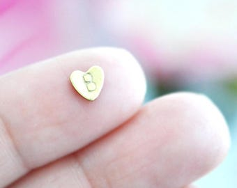 Tiny Brass Heart Letter Stamped Floating Charm