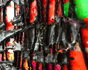 Textile collage on wedge frame, acrylic paint