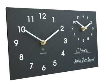Time Zone Wall Clock with Chalk, made from recycled paper packaging