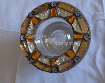 Mosaic glass candle holders with base