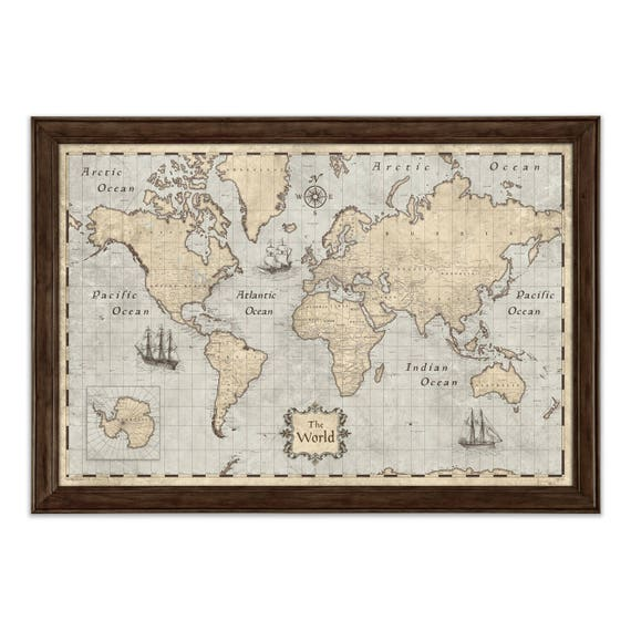 World map poster rustic vintage style travel map gumiabroncs Image collections