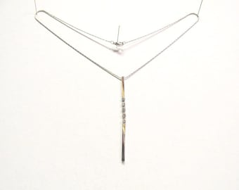 OOAK Hanging Silver Bars with CZ's  on a 1MM Silver Snake Chain Necklace