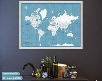 Travel Map of the World - Push Pin Board with Frame and Personalization options - Anniversary Banner