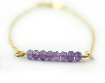 Amethyst Bar Bracelet, February Birthstone, Amethyst Bracelet, Purple Bracelet, Stone Bracelet, Dainty Gold Jewelry, Gold Bracelet, Delicate