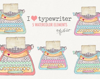 I Love Typewriter - clipart elements - PNG file